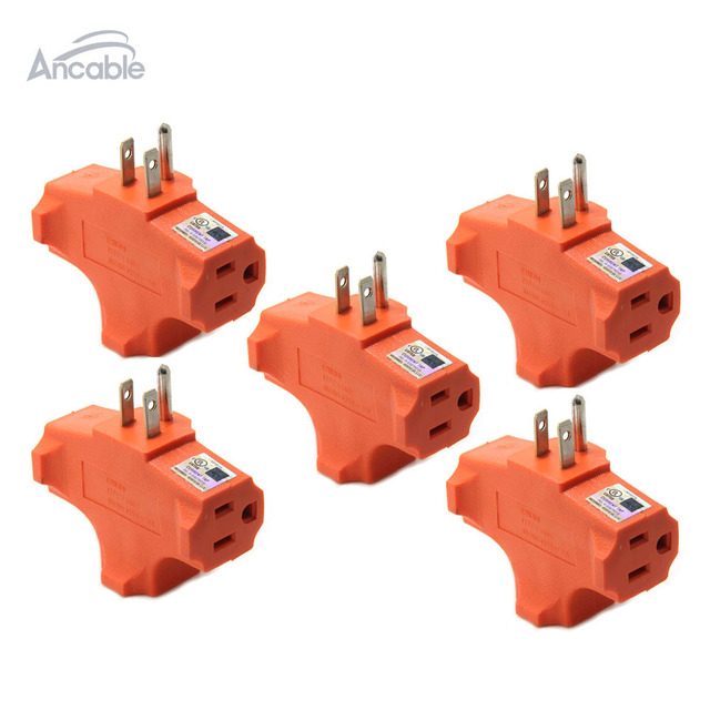 Ancable 3 Way Heavy Duty Grounded Triple Outlet Adapter UL Listed ...