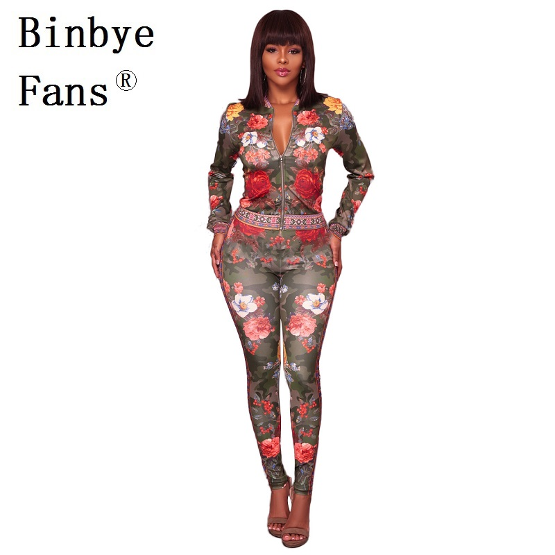 Binbye Fans Two Piece Sets Tracksuit for Women Long Sleeve Flower Print Zipper Jackets and Pants Sweat Outfit Suits CH204