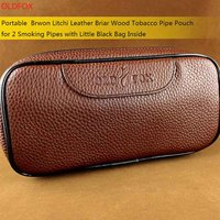 OLDFOX Goede Duurzaam Draagbare Litchi PU Lederen Pijp Pouch/Case/Tas voor 2 Pijpen met Little Bag binnenkant fc0056