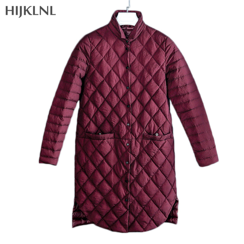 HIJKLNL Womens   Down   Jackets 2019 New Autumn and Winter Single-breasted Slim Thin Long   Down     Coat   Ultralight Jacket Parka LH1134