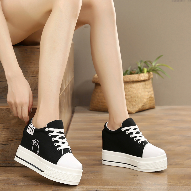 2018 new women's single shoes 8 cm increase casual shoes thick-soled student sneakers 5