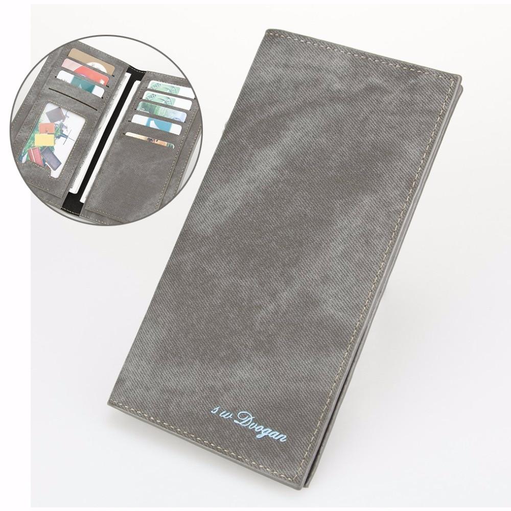 Solid Gray Long Wallets Minimalist Mans Wallet Men Leather Wallet Money Purse Card Holder Gentleman Casual Two Folds Wallet