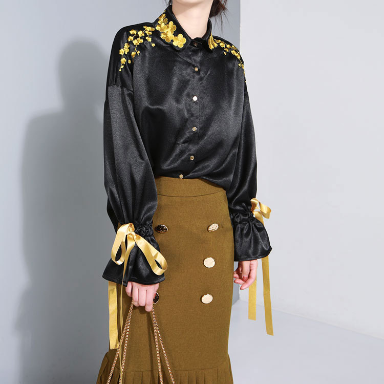 MUMUZI Contrast Gold Flower Embroidery Tops Black Loose Silk High Street Long Flare Sleeve Bandage Bow Blouses Retro Style