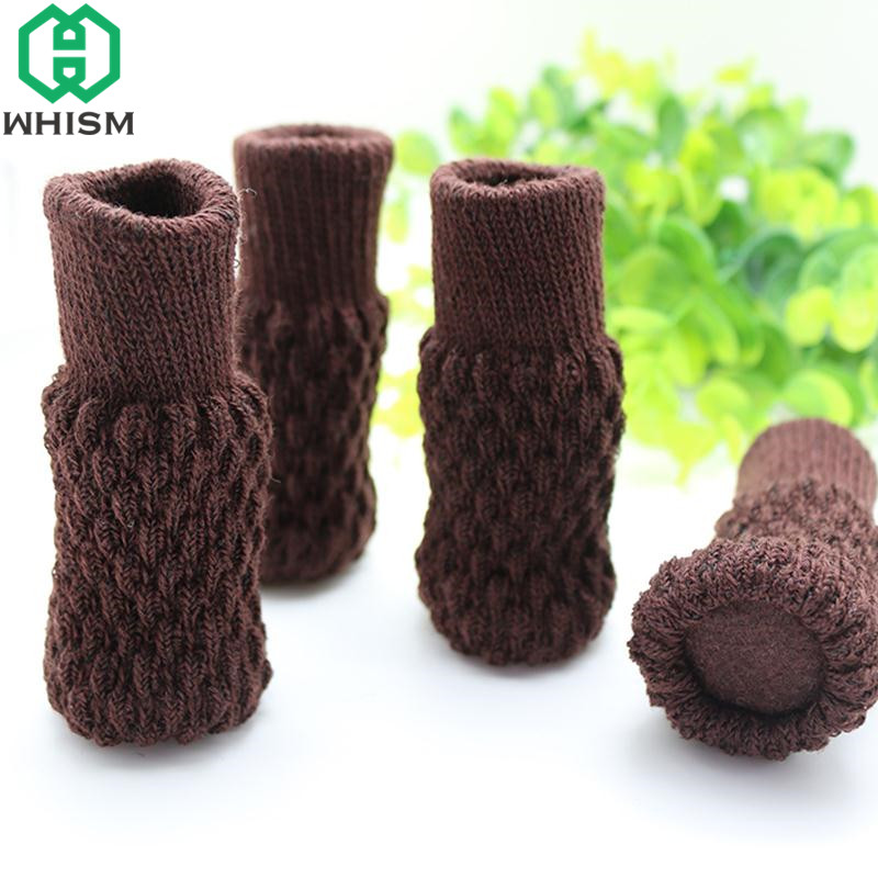 WHISM 4PCS Acrylic Chair Legs Cover Floor Protection Non-slip Table Legs Home Knitted Furniture Feet Socks Furniture Protector