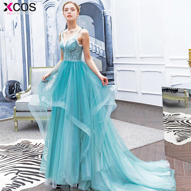 2912da148e8 Baby Blue Evening Gown 2019 A-Line Sexy Layered Long Prom Dresses Spaghetti  Straps Royal Court Birthday Prom Dress