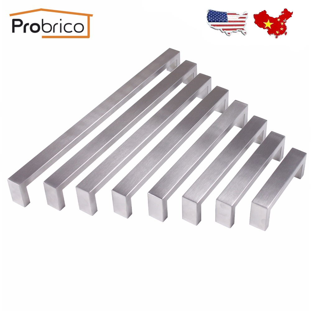 Probrico Stainless Steel Cabinet Door Handle Square Bar Size 10mm*20mm Hole Space 96mm~320mm Kitchen Drawer Knob Pull PDDJ30HSS probrico 10mm 20mm square bar handle stainless steel hole spacing 128mm cabinet door knob furniture drawer pull pddj30hss128