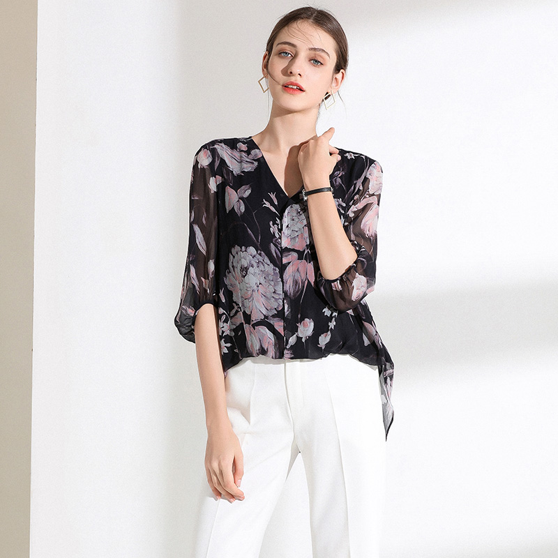 100% размера плюс шелковая блузка Женский Топ простой дизайн круглый вырез рукава Свободный Топ Новая Мода Высокое качество шелковые блузки 2019 - 3