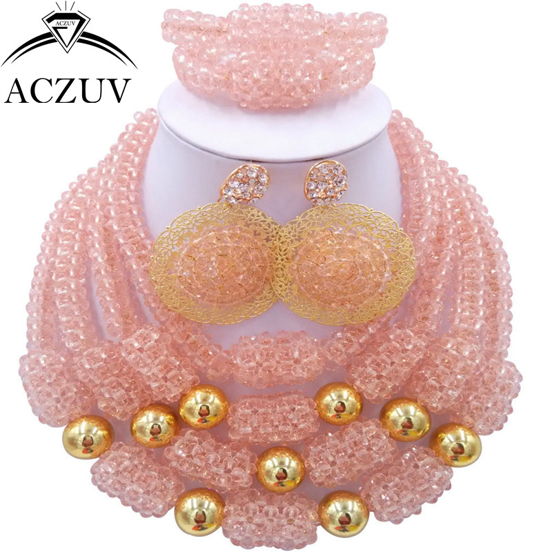 ACZUV Latest Dubai Beads Jewelry Set Crystal Peach African Necklace Nigerian Wedding Party Jewellery Sets D4R011