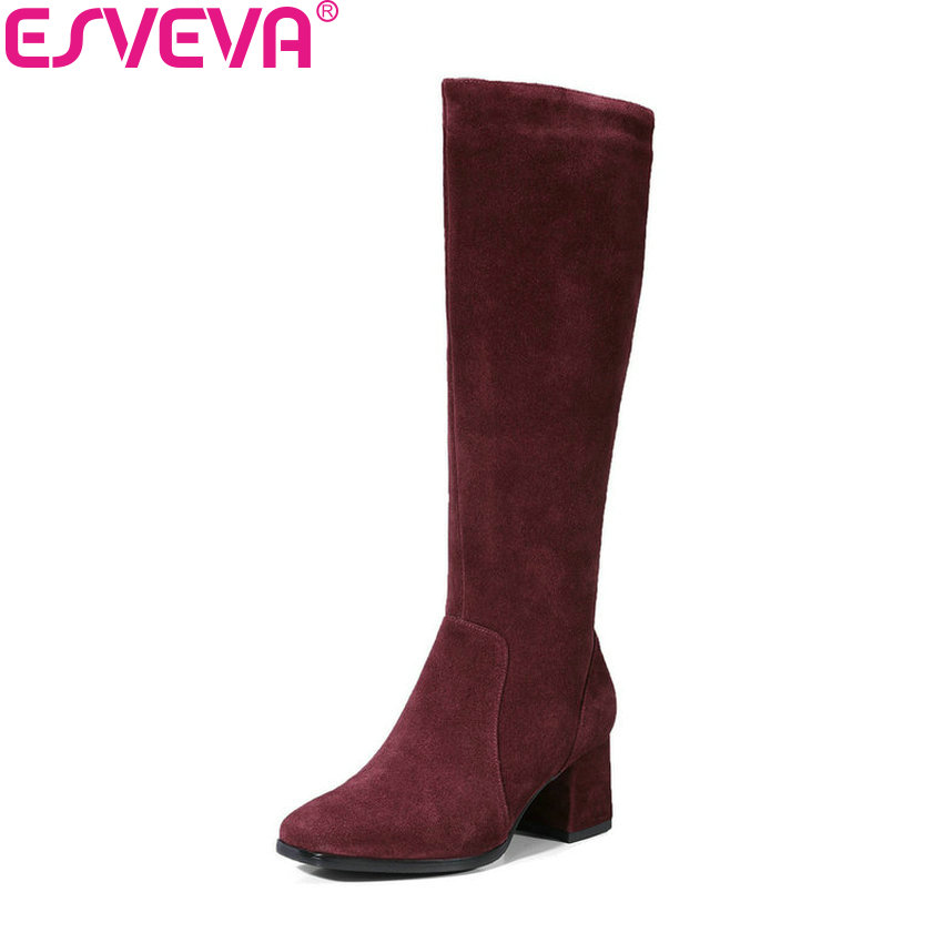 ESVEVA 2018 Women Boots Cow Suede Comfortable To Wear Knee-high Boots Square Toe Square High Heels Warm Fur Boots Size 34-39 esveva 2018 women boots cow leather suede out door buckle square high heels ankle boots pointed toe warm fur boots size 34 39