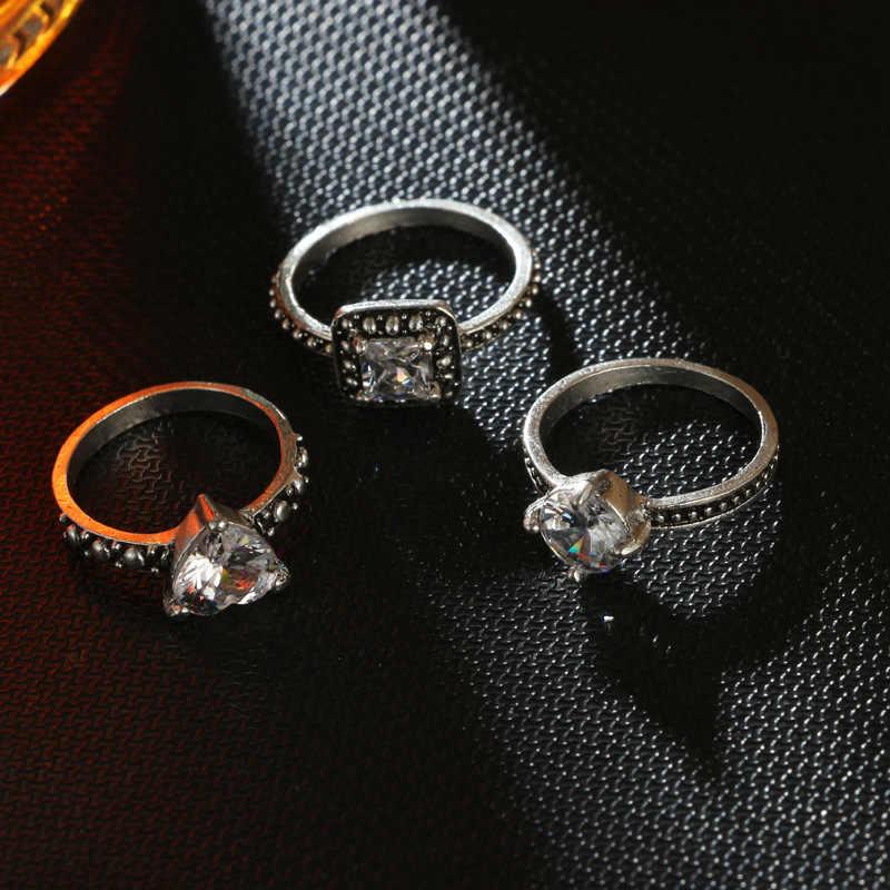 3 Pçs/lote Antique Jóia de Prata Conjuntos Anel Austríaco Crytal Rhinestone Bague Anel Vintage Étnico Indiano Acessórios Para Festa de Casamento