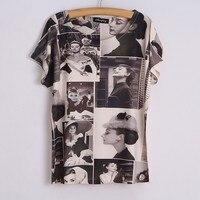 Free Shipping New Classic Women Audrey Hepburn Base Shirt Audrey Hepburn Printing T Shirt Tees