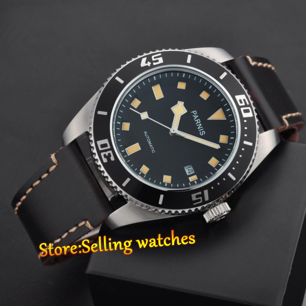 43mm parnis japan miyota 821a sapphire glass men automatic movement watch in mechanical watches for Auto movement watches
