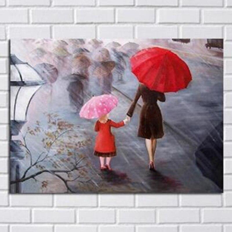 Grande toile peinture moderne décor à la maison mur Art Rainny jour mère et enfant photos peintes à la main abstraite Figure peintures à l'huile