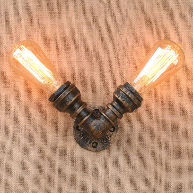 Iron Water Pipe Vintage Loft Edison Wall Lamp Industrial Wall Sconce Bedside Light Fixtures For Home Lighting Cafe Living Room black color pipe retro loft vintage iron shade wall lamp sconces industrial home lighting fixture for living room free shipping