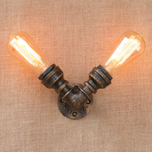 Iron Water Pipe Vintage Loft Edison Wall Lamp Industrial Wall Sconce Bedside Light Fixtures For Home Lighting Cafe Living Room nordic style industrial water pipe light edison bulb vintage aisle wall lamp home decor for cafe bar hall coffee shop club store
