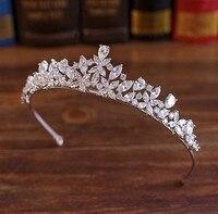 Full CZ Tiara Bride Cubic Zircon Crown Diadema Wedding Hair Accessories Jewelry Bijoux Tiaras Crowns Coroa De Novia WIGO1028