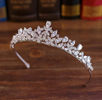 Full CZ Tiara Bride Cubic Zircon Crown Diadema Wedding Hair Accessories Jewelry Bijoux Tiaras Crowns Coroa