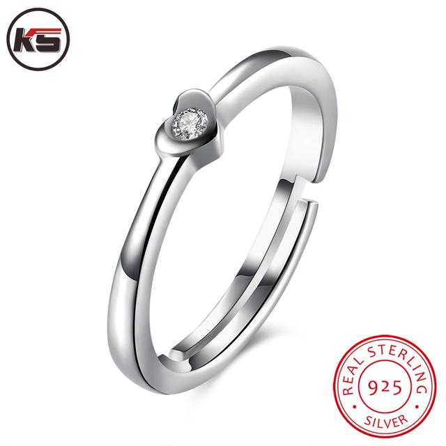 7cc43d0d2 Authentic 100% 925 Sterling Silver Love Heart Forever More Stackable Ring  CZ Diamond Adjustable Wedding Rings Jewelry Gift Open