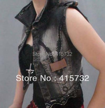 Free Shipping 2017 New Arrival Summer Fashion Cool Personalized Denim Short Vest Outerwear For Women jeans Vest Ladies Waistcoat