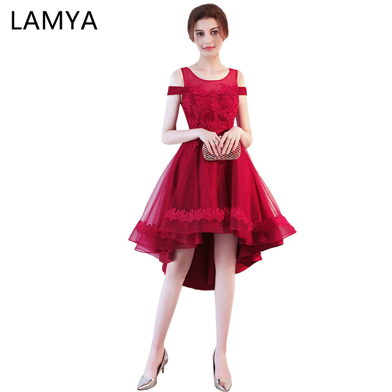 77f33360d Detail Feedback Questions about LAMYA Elegant Lace Boat Neck Prom Dresses  Short Front Back Long Tail Banquet Evening Dress 2018 Formal Gown Party Gown  For ...