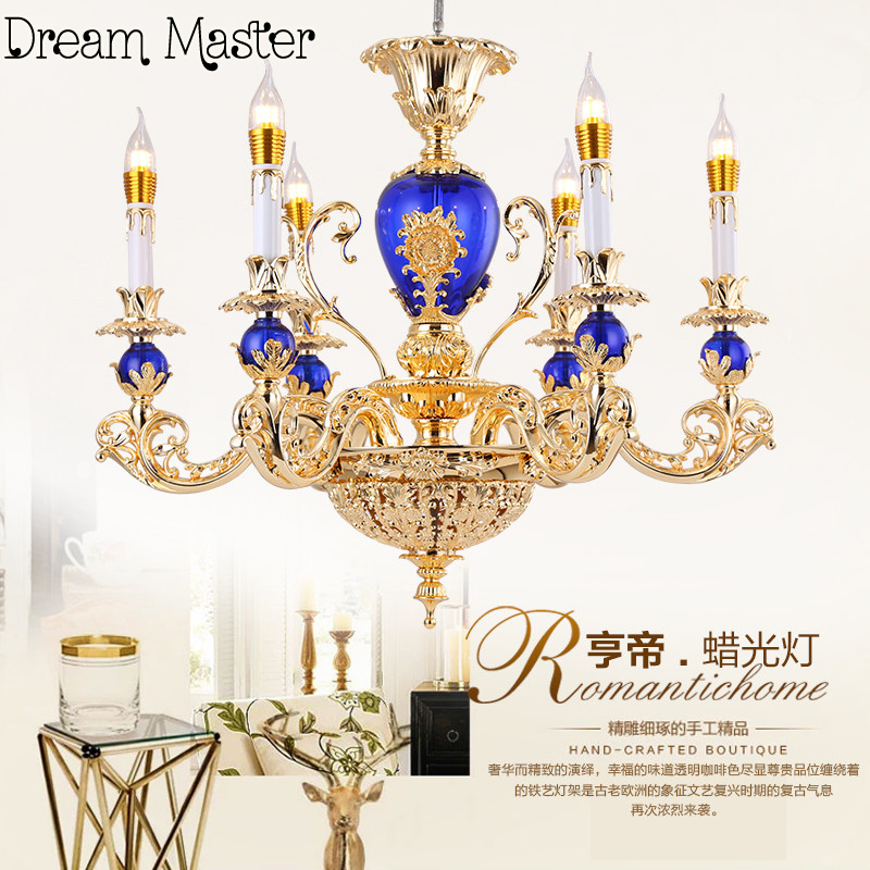 Simple European Style Crystal Chandelier  French luxury American dining room retro minimalist atmosphere creative bedroom lamp minimalist style chandelier choice of color french gold and chrome crystal lamp crystal chandelier golden color is ready made