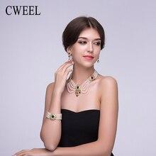 Cweel perla simulada de la joyería para las mujeres imitado cristal collar chapado en oro pendientes de vestuario accesorios de boda