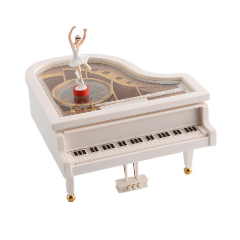 White Gold Piano Music Box Classical Gift Boutique With Dancing Girl Song To Alice Clockwork Mechanical Dancing Ballerina image