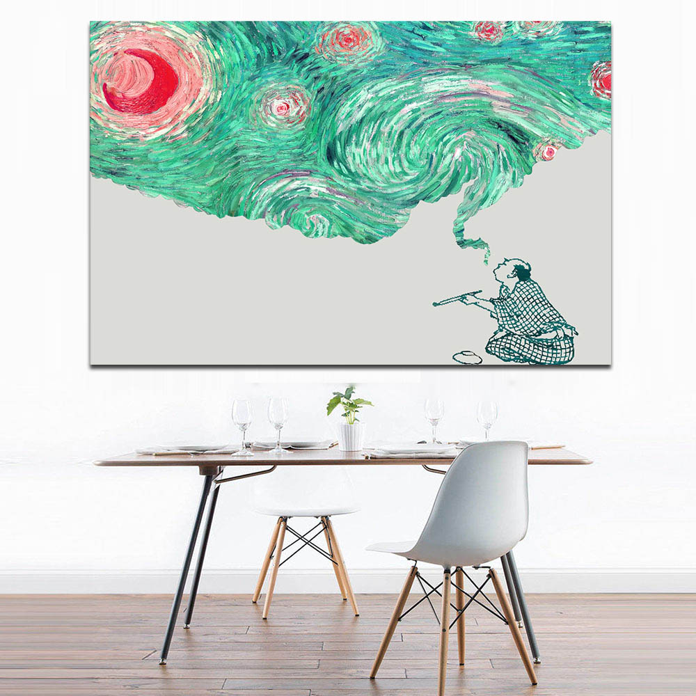 Modern Wall Art Canvas Printings Smoking Man Abstract Painting Green Starry Sky Landscape Posters and Prints for Office Decor