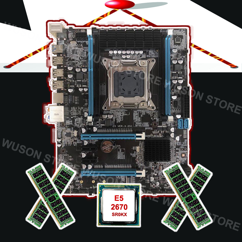 New arrival Runing X79 motherboard with M.2 slot brand motherboard with CPU Intel Xeon <font><b>E5</b></font> <font><b>2670</b></font> <font><b>C2</b></font> 2.6GHz RAM 32G 1600 REG ECC image