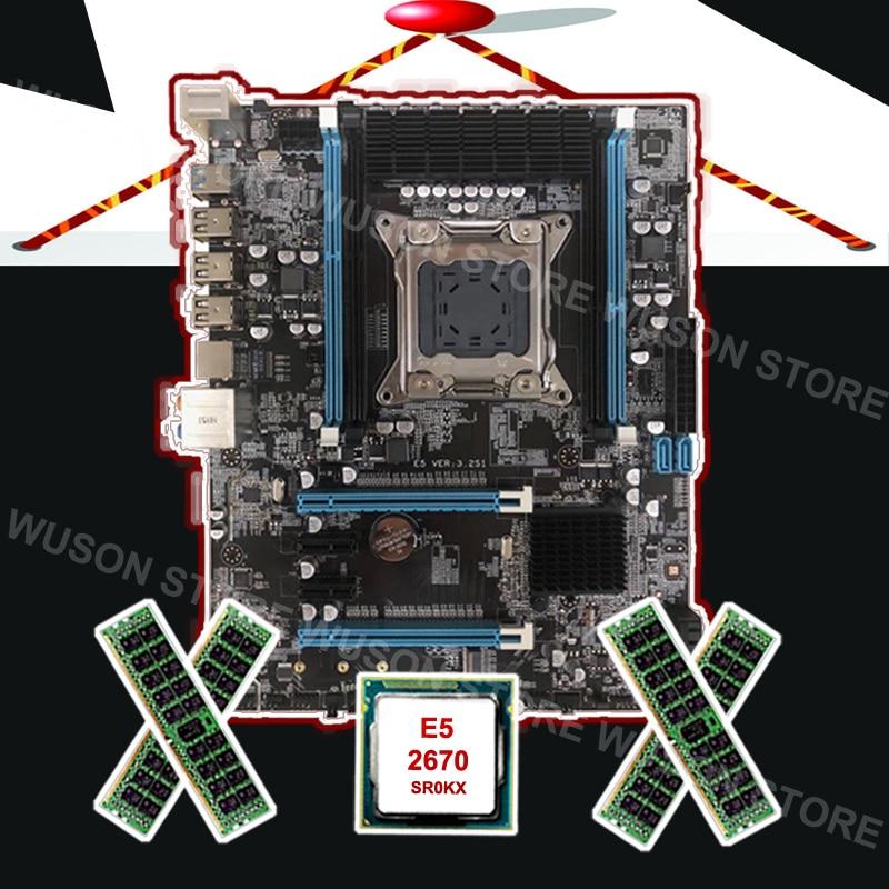 Nouvelle arrivée Runing X79 carte mère avec M.2 slot marque carte mère avec CPU Intel Xeon E5 2670 C2 2.6 ghz RAM 32g 1600 REG ECC