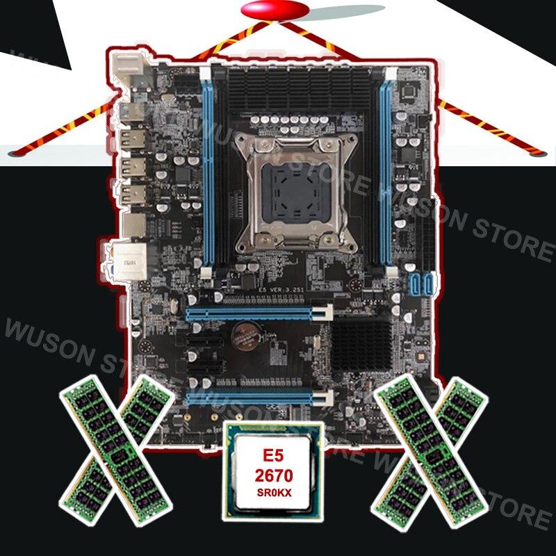 Nuovo arrivo Runing X79 scheda madre con M.2 slot per scheda madre di marca con CPU Intel Xeon E5 2670 C2 2.6 ghz RAM 32g 1600 REG ecc