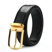 High Quality Men Belt Stainless Steel Gold Pin Buckle Genuine Exotic Crocodile leather Belt Classical Designer Male Black Belt
