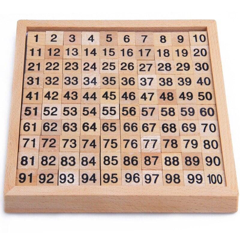 La educación Montessori juguetes de madera juguetes de 1-100 dígitos cognitivo juguete matemáticas enseñanza logaritmo versión chico Aprendizaje Temprano regalo
