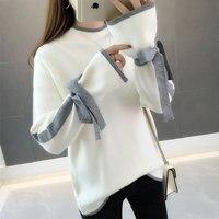 2019 chic early autumn sweater, women's autumn winter, Korean version, loose knitwear, short sleeves, long sleeved blouse