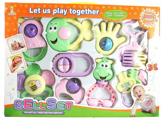 9 PCS Mixed in font b Box b font Baby Rattles Teether Set Early Development Toys