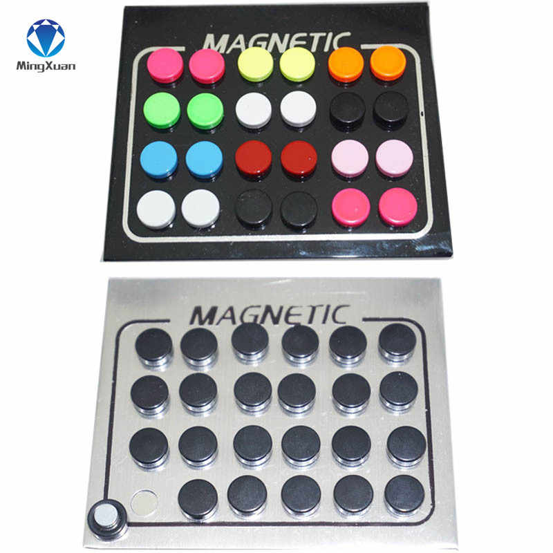 MINGXUAN 24pcs 6/8/10mm Round Crystal 316L Stainless Steel Magnet Stud Earring Puck Womens Mens Magnetic Fake Ear Plug Jewelry