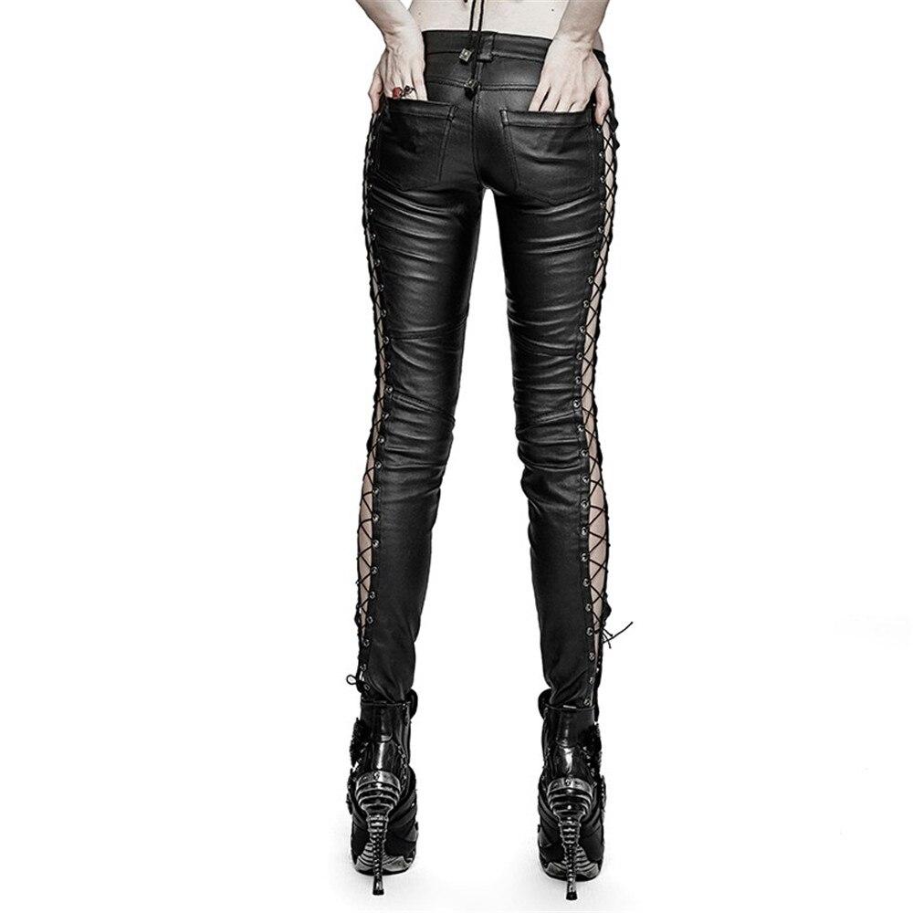 PUNK RAVE Pantaloni Delle Donne Punk di Personalità di Modo di Cuoio Dell'unità di elaborazione Nero Ghette Sexy Hip Hop Streetwear Pantaloni Scarni - 3