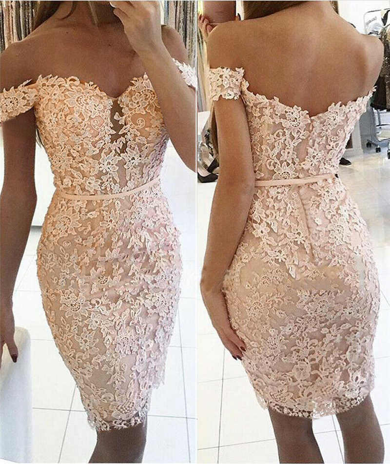 Sexy Women Off Shoulder Lace Mini Dress Fashion Lady Floral Print Bodycon Party V Neck Dress
