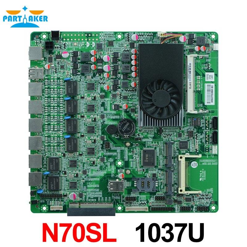La carte mère pare-feu N70SL prend en charge le processeur double cœur Intel 1037U/1.80 GHz avec 6 * USB/2 * COM pour 6 LAN