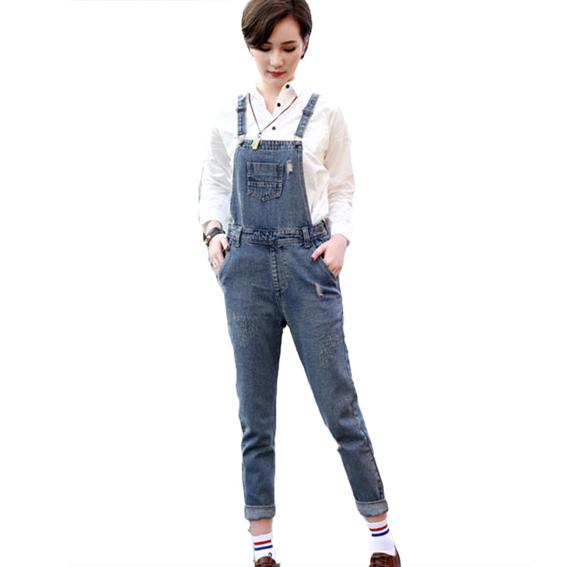 2017 autumn boutique cowboy denim cotton overalls fashion all match Bleached ripped scratched blue loose ladies Jeans HM721