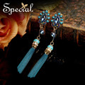 Special New Fashion Long Tassle Earrings Blue Drop Earrings Rhinestones Bohemian Jewelry Gifts for Girls Women ED150819