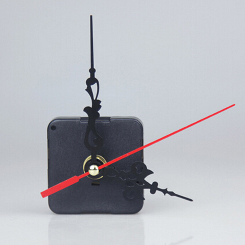 1Set Silent Wall Quartz Clock Movement Mechanism Black & Red Hands Repair Tool Parts Kit DIY Set With Hook Drop Shipping