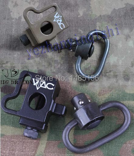 VAC style QD Quick release push stud sling swivel mount fit 20mm ris ras rail BK/DE-Free shipping tactical push button quick release detach qd swivel loop with rail sling attachment mount for 20mm picatinny rails