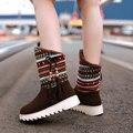 2016 novas botas do tornozelo da plataforma Botas de Neve mulheres sapatos de inverno à prova d' água rendas até botas de pele marrom preto botas curtas grande tamanho AA556