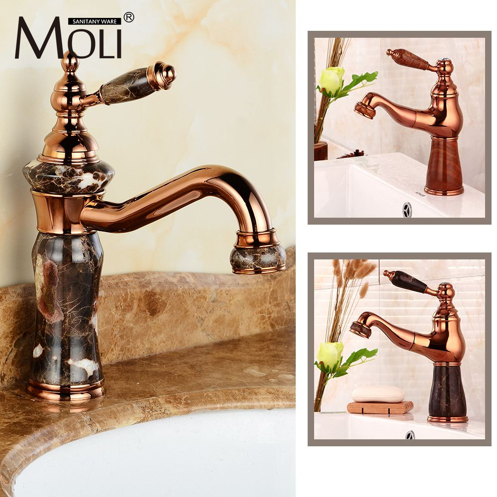Europe pull out spout copper rose golden bathroom faucet gold faucets with stone deck mount marble