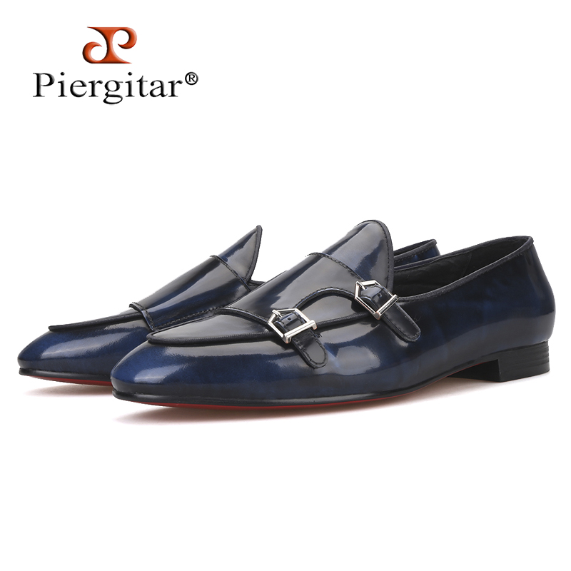 Piergitar 2019 Handmade Navy colors Calfskin men dress shoes with metal buckle Fashion Party and wedding