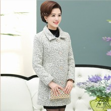 Middle-aged women's clothing long cloth coat coat lapels mother outfit   P3953