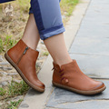 Handmade vintage women short boots flat heel booties big size shoes for ladies flat ankle boots for women plus size