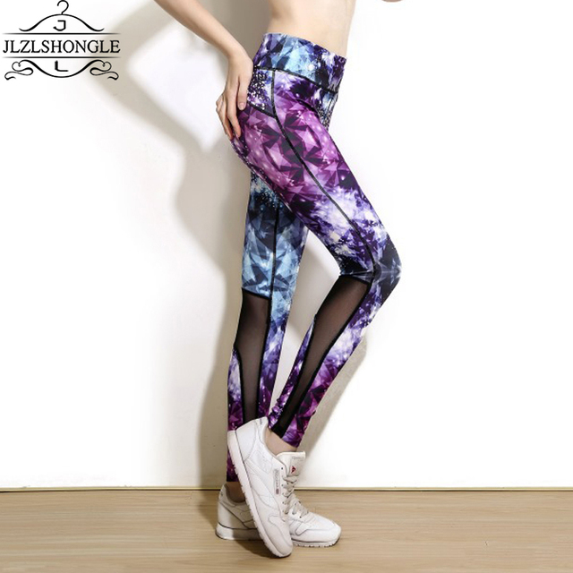 Hot Sale Sexy Women Galaxy Mesh Patchwork Pants High Quality Skinny Leggins Sexy Fitness High Elastic Mujer Leggings