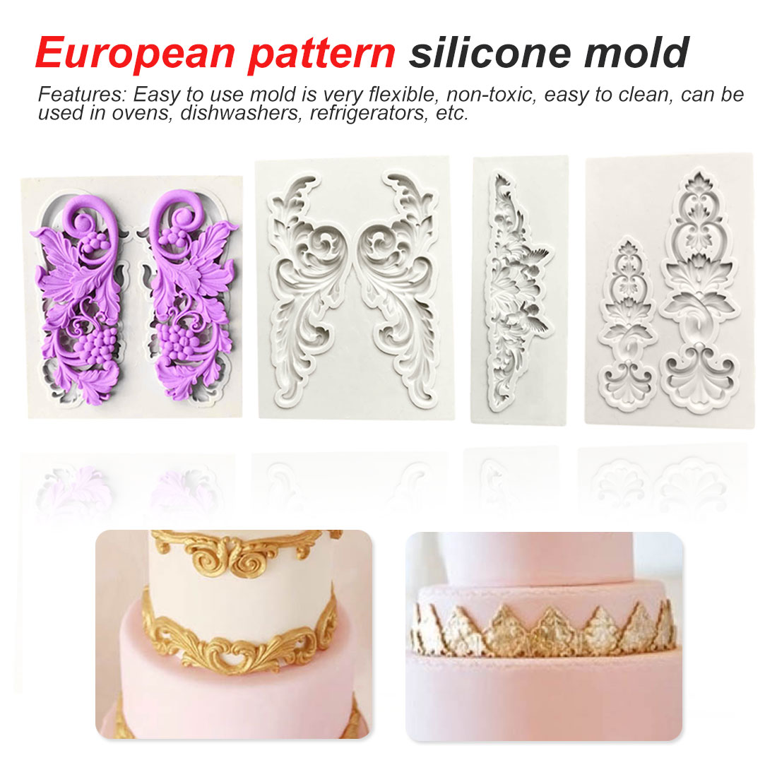 Cake Decorating Tools Border European Relief Silicone Mold Fondant Mold Chocolate Gumpaste Mold Cake decorating Tools cake mold